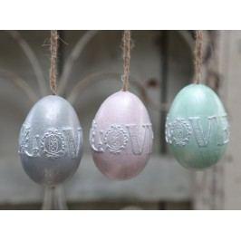 Dekorativní vajíčko Love k zavěšení Šedé, růžová barva, zelená barva, šedá barva, plast