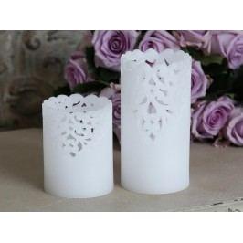 LED vosková svíčka Lace Menší, bílá barva