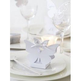 Dárkové mini krabičky Butterfly - set 10 ks, bílá barva, papír