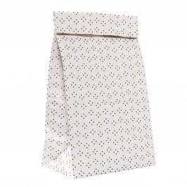 Velký dárkový sáček Dots, bílá barva, hnědá barva, papír