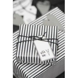 Balící papír Black Stripe - 10 m, černá barva, bílá barva, papír