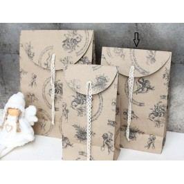 Dárkový sáček Angels - střední, béžová barva, hnědá barva, papír