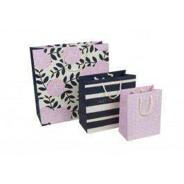 TRI-COASTAL DESIGN Sada dárkových tašek Adrienne - set 3 ks, růžová barva, modrá barva, papír
