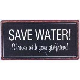 Save water, černá barva, kov
