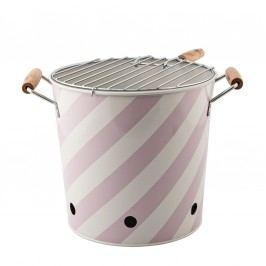 Venkovní gril Mauve Stripe, růžová barva, kov
