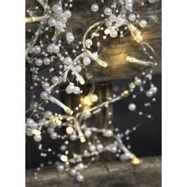 Světelný LED řetěz Pearl White, bílá barva, kov