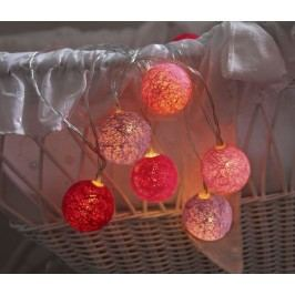 Dekorativní svítící řetěz White Pink Lights, růžová barva, textil