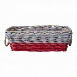 Proutěný košík s jutovými uchy - hranatý, červená barva, béžová barva, proutí