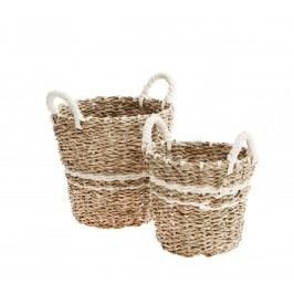 Set košíků Natural/white - 2 ks, hnědá barva, proutí, papír