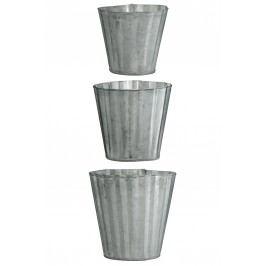 Mini zinkový obal na květiny Wavy pots - set 3 ks, šedá barva, zinek