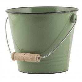 Smaltovaný kyblík Green, zelená barva, smalt