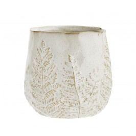 Kameninový květináč Leaf, béžová barva, krémová barva, keramika
