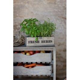 Garden Trading Dřevěný truhlík s květníčky Fresh herbs, hnědá barva, dřevo, zinek