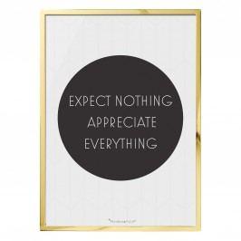 Obrázek ve zlatém rámu Expect Nothing, černá barva, bílá barva
