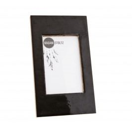 Dřevěný fotorámeček s opěrkou Shiny Black - větší, černá barva, sklo, dřevo