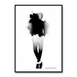 Akvarelový plakát Fashion 30 x 40 cm, černá barva, bílá barva, papír
