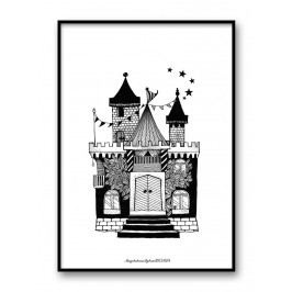 Plakát Fairytale House 30 x 40 cm, černá barva, bílá barva, papír