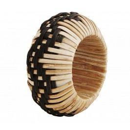Bambusový kroužek na ubrousky Black, černá barva, dřevo, proutí