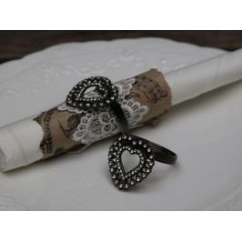 Kroužek na ubrousky Heart, černá barva, stříbrná barva, kov