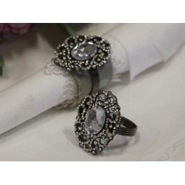 Kroužek na ubrousky Crystal, stříbrná barva, kov