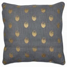 Povlak na polštář Paula gold 50x50, šedá barva, zlatá barva, textil
