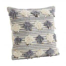 Povlak na polštář Pompom Grey/cream 45x45 cm, šedá barva, krémová barva, textil