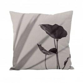 Polštář Print flower grey 45 x 45 cm, šedá barva, textil