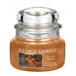 Svíčka ve skle Autumn Comfort - malá, oranžová barva, hnědá barva, sklo, vosk