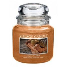 Svíčka ve skle Autumn Comfort - střední, oranžová barva, hnědá barva, sklo, vosk