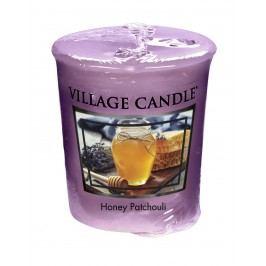 Votivní svíčka Village Candle - Honey Patchouli, fialová barva, vosk