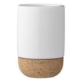 Keramický kalíšek do koupelny Cork Base, bílá barva, hnědá barva, keramika