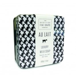 Mýdlo v plechu AU LAIT 100 g, černá barva, bílá barva