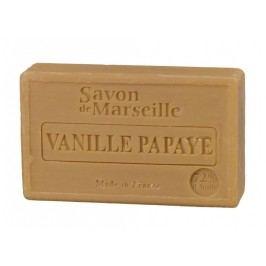 Mýdlo Marseille 100 g - vanilka a papája, hnědá barva