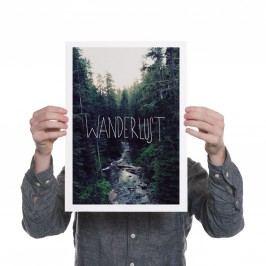 Ohh Deer Pigmentový giclée tisk Wanderlust A3, zelená barva, papír
