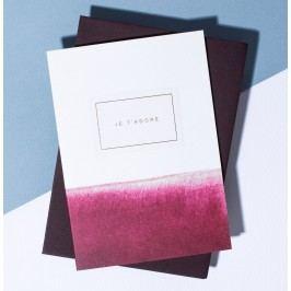 À L'AISE Papírové přání s obálkou Je t'adore, červená barva, zlatá barva, papír