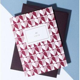 À L'AISE Papírové přání s obálkou My Love, červená barva, papír