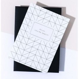 À L'AISE Papírové přání s obálkou Great Grid, černá barva, papír
