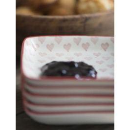 Mini talířek/podšálek Heart, červená barva, bílá barva, keramika