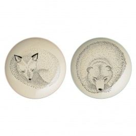 Keramický talíř Adelynn Animals - 2 druhy Medvěd, béžová barva, multi barva, keramika