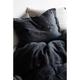 Kardelen Přírodní lněné povlečení Graphite, černá barva, textil