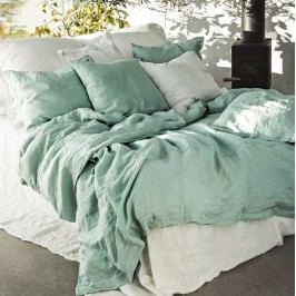 Kardelen Přírodní lněné povlečení Misty Ocean, zelená barva, textil