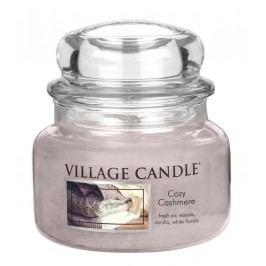 Svíčka ve skle Cozy Cashmere - malá, růžová barva, fialová barva, sklo, vosk