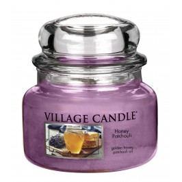 Svíčka ve skle Honey Patchouli - malá, fialová barva, sklo, vosk