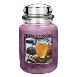Svíčka ve skle Honey Patchouli - velká, fialová barva, sklo, vosk
