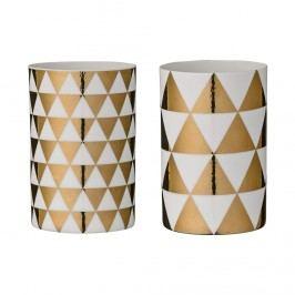 Svícen Gold triangles Malé trojúhelníky, zlatá barva, porcelán