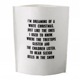 Dárkový sáček Dreaming of a White Christmas, černá barva, bílá barva, papír