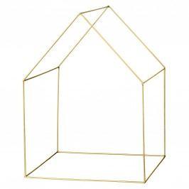 Dekorativní drátěný domeček Brass, zlatá barva, kov, dráty