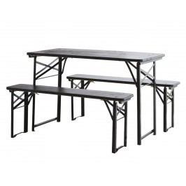Lavičky se stolem Black, černá barva, kov