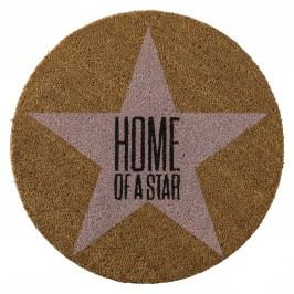 Kulatá rohožka Home of a star, růžová barva, hnědá barva, textil