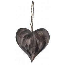 Ozdoba z pírek Heart grey, šedá barva